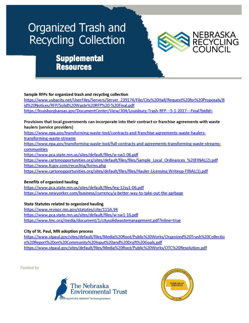 ORGANIZED TRASH AND RECYCLING COLLECTION: Additional Resources